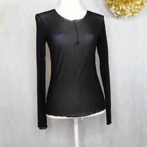 Cynthia Ashby Black Long Sleeve Sheer Net Top XS